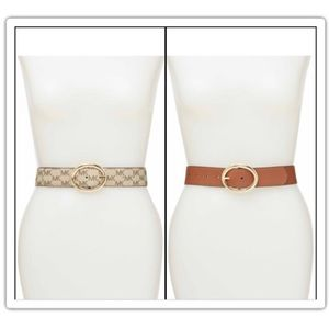 (100)MK leather belt brown reversible portia style
